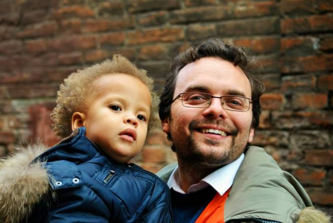 Federico with his son Matteo who made him create Italy's first social street.